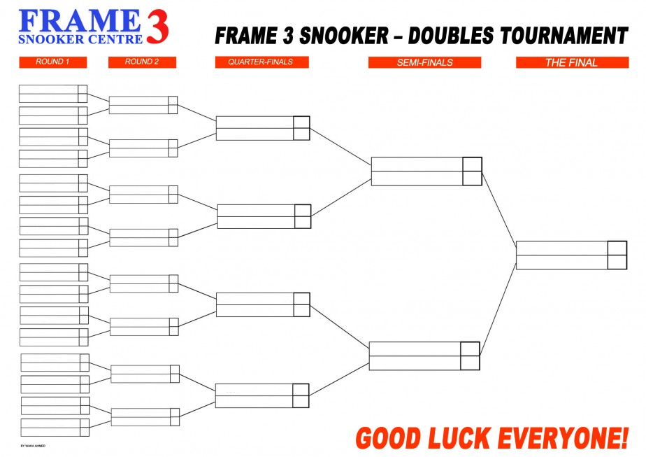 snooker tournament wall chart